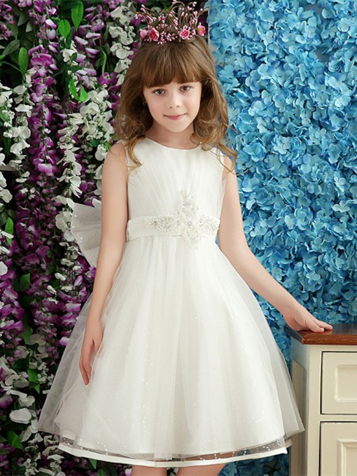 Beading Bowknot Knee-Length Flower Girl Dress