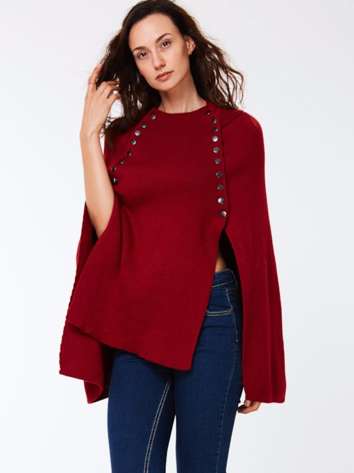 Asymmetric Pullover Round Neck Women's Cape