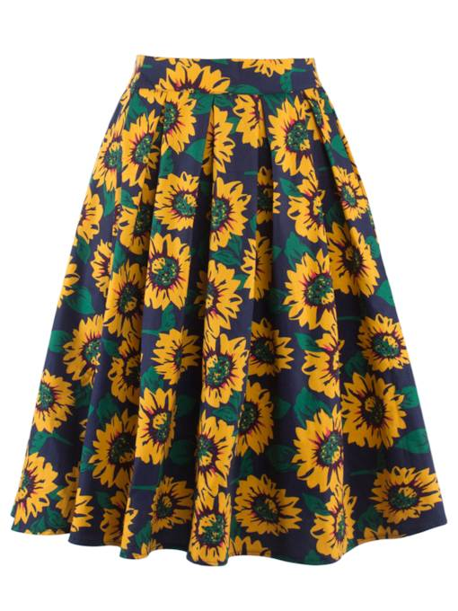 High Waisted Sunflower Women's Skirt