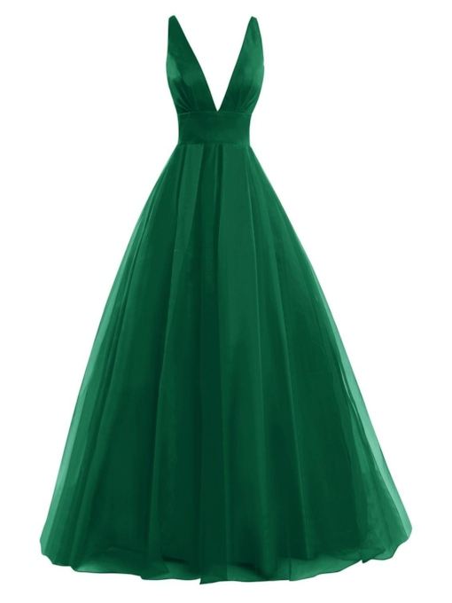 A-Line Backless V-Neck Pleats Floor-Length Prom Dress