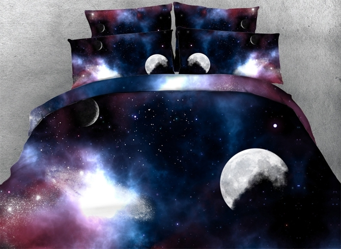 Moon and Galaxy Printed 3D 4-Piece Bedding Sets/Duvet Covers
