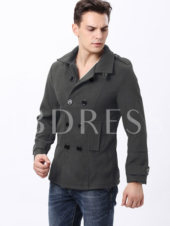 Lapel Double Breasted Men's Wool Coat with Epaulet