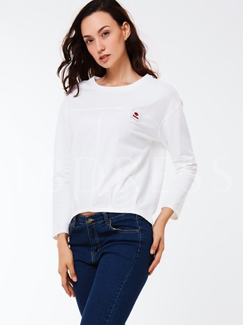 Simple Plain Round Neck Nine Points Sleeve Women's Sweatshirt