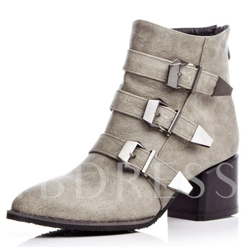 Pointed Toe Back Zipper Ankle Plain Short Floss Women's Boots