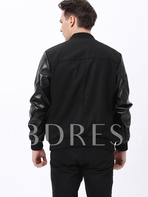 Men's PU Patched Jacket with Plain Peaked Lapel