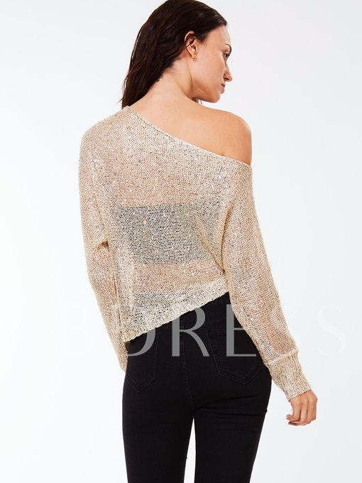 See-Through Slim Round Neck Nine Points Sleeve Women's Sweater