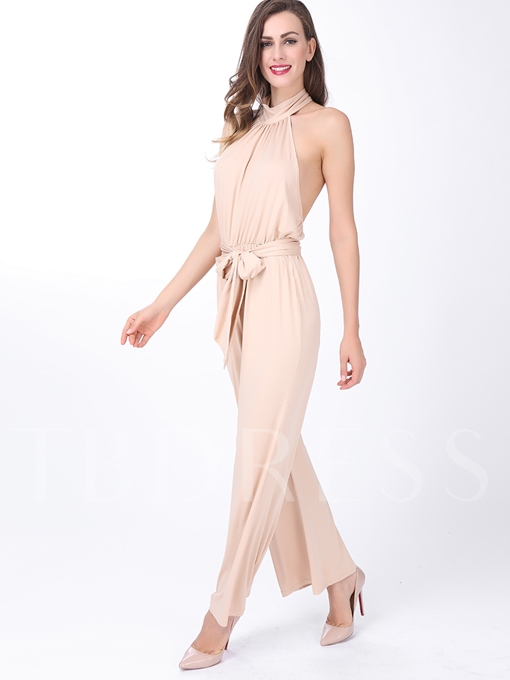 Rose Quartz Halter Pleated Palazzo Women's Jumpsuit