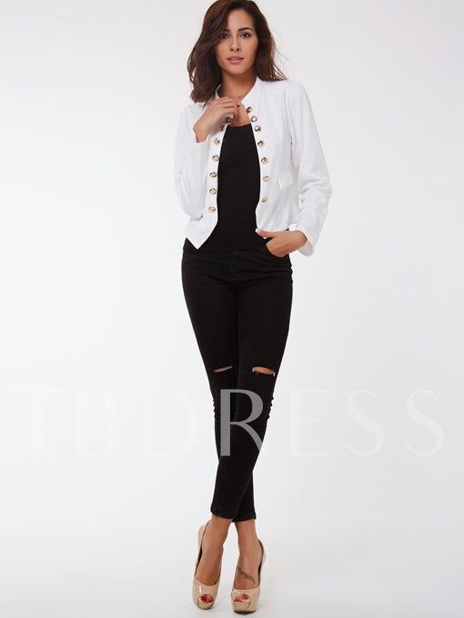 Solid Color Double Breasted Long Sleeve Women's Blazer poliviscosa