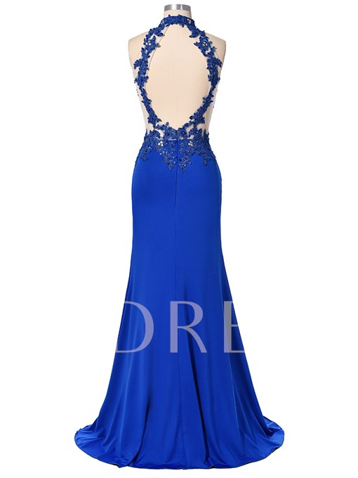 Halter Mermaid Appliques Beading Split-Front Evening Dress
