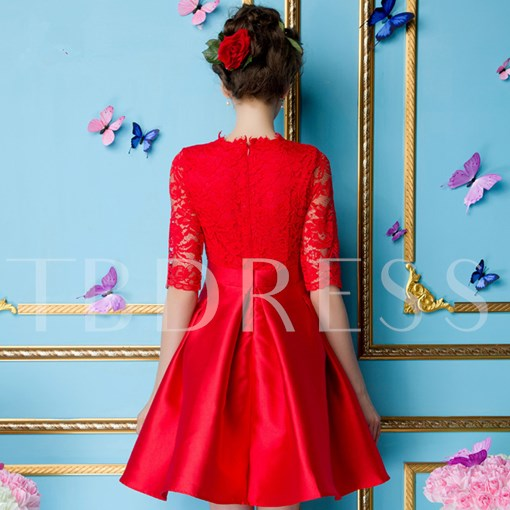 A-Line Scoop Half Sleeves Lace Short Cocktail Dress