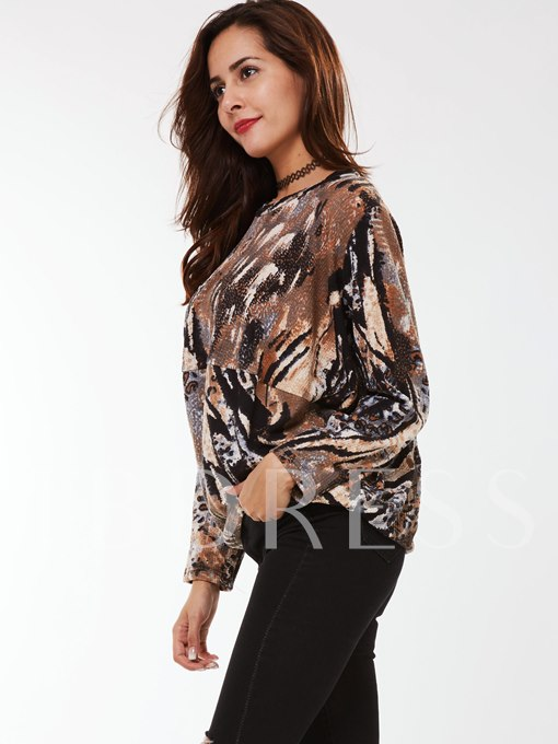 Camouflage Round Neck Long Sleeve Women's Hoodie