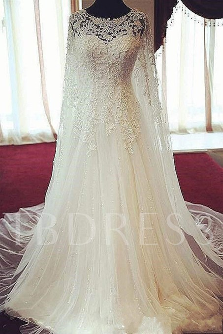 Scoop Neck Beading A-Line Wedding Dress With Lace