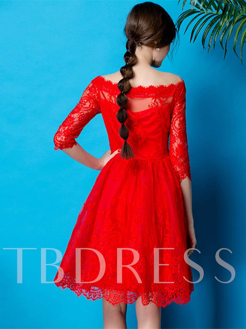 A-Line Off-the-Shoulder Half Sleeves Lace Short Cocktail Dress