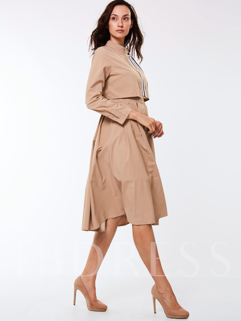 Solid Color Zipper Stand Collar Nine Points Sleeve Women's Trench Coat