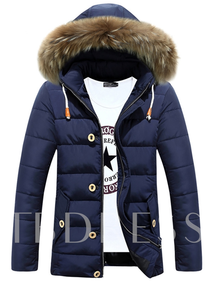 Lace-up Zipper Buttons Men's Down Jacket