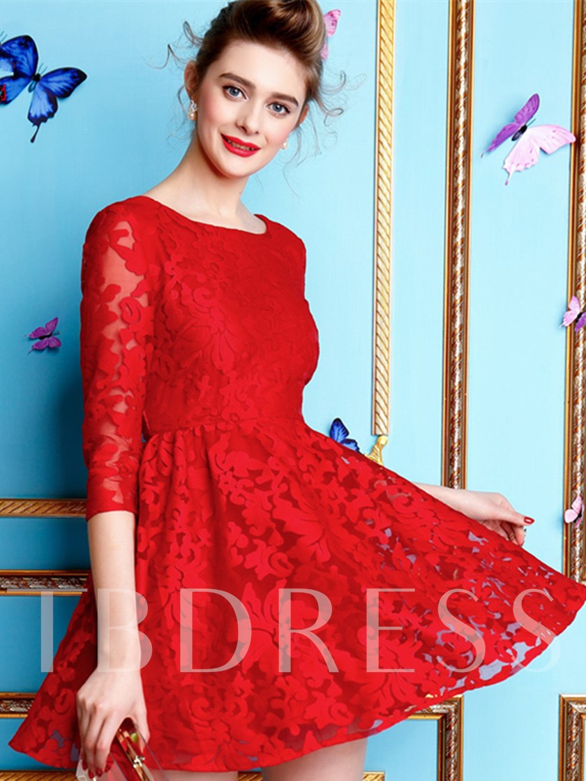 A-Line Scoop Half Sleeves Lace Mini Cocktail Dress