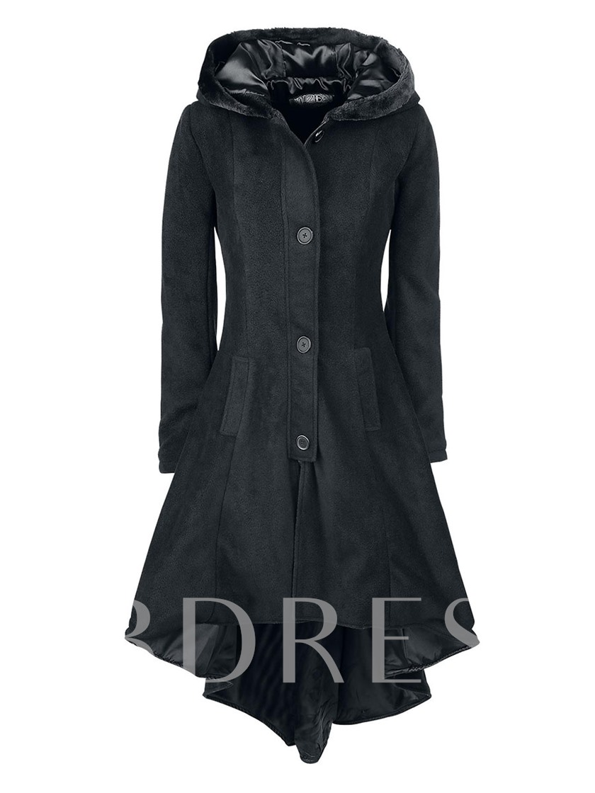 Asymmetric Single-Breasted Hooded Women's Overcoat