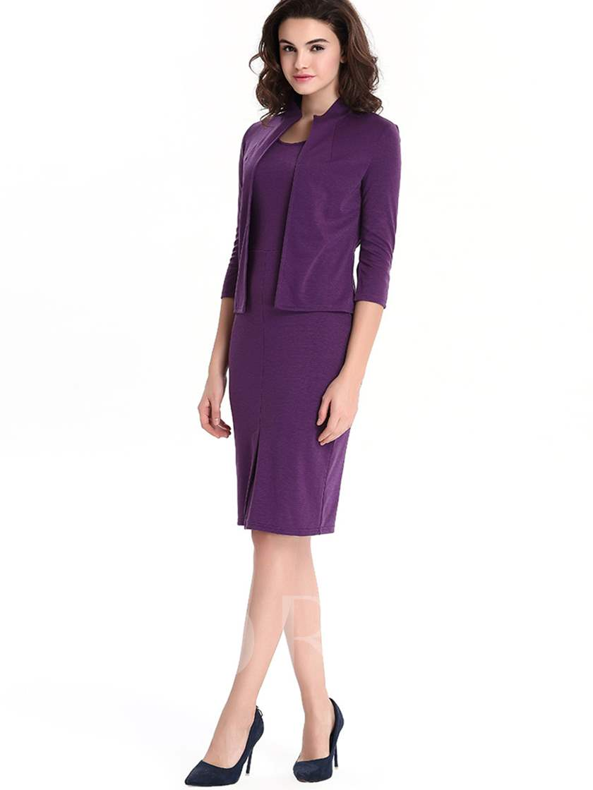 Plain Zipper Slim Fit OL Women's Suit