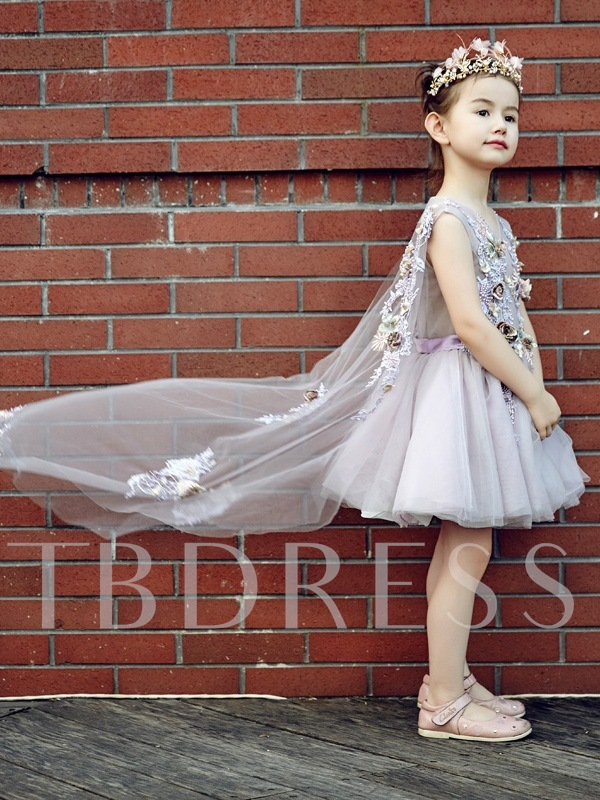 V-Neck Appliques Lace-Up Short Flower Girl Dress