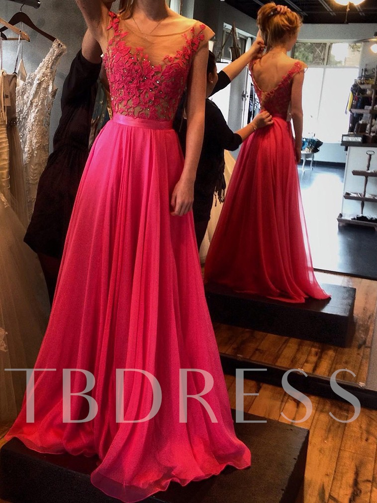 A-Line Scoop Appliques Beading Long Prom Dress