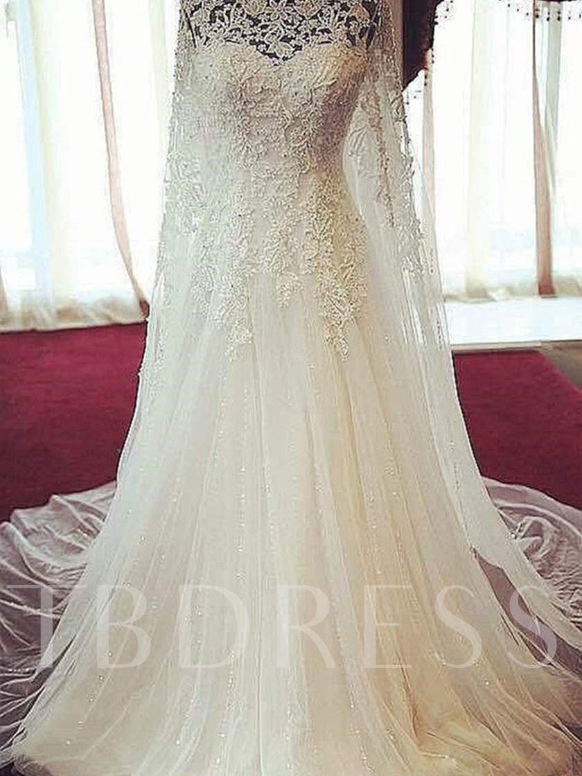 Scoop Neck Appliques Beading Wedding Dress with Train