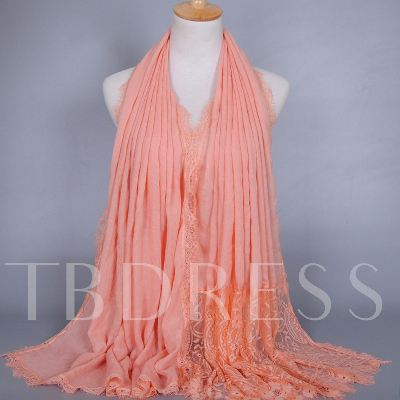 Lace Patchwork Solid Color Scarf