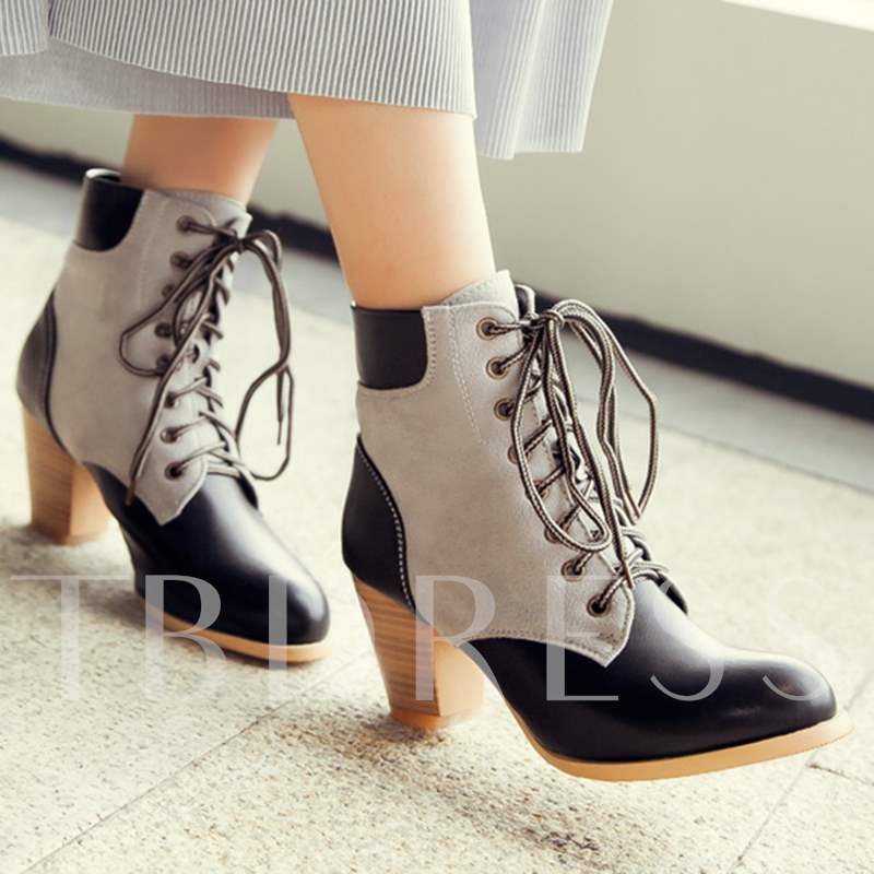 Lace-Up Front Ankle Color Block Women's Boots