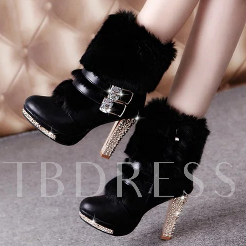 Round Toe Side Zipper Ankle Platform Short Floss Women's Boots