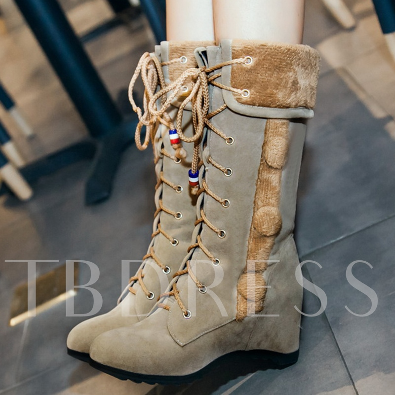 Lace-Up Front Suede Plain Short Floss Round Toe Women's Boots