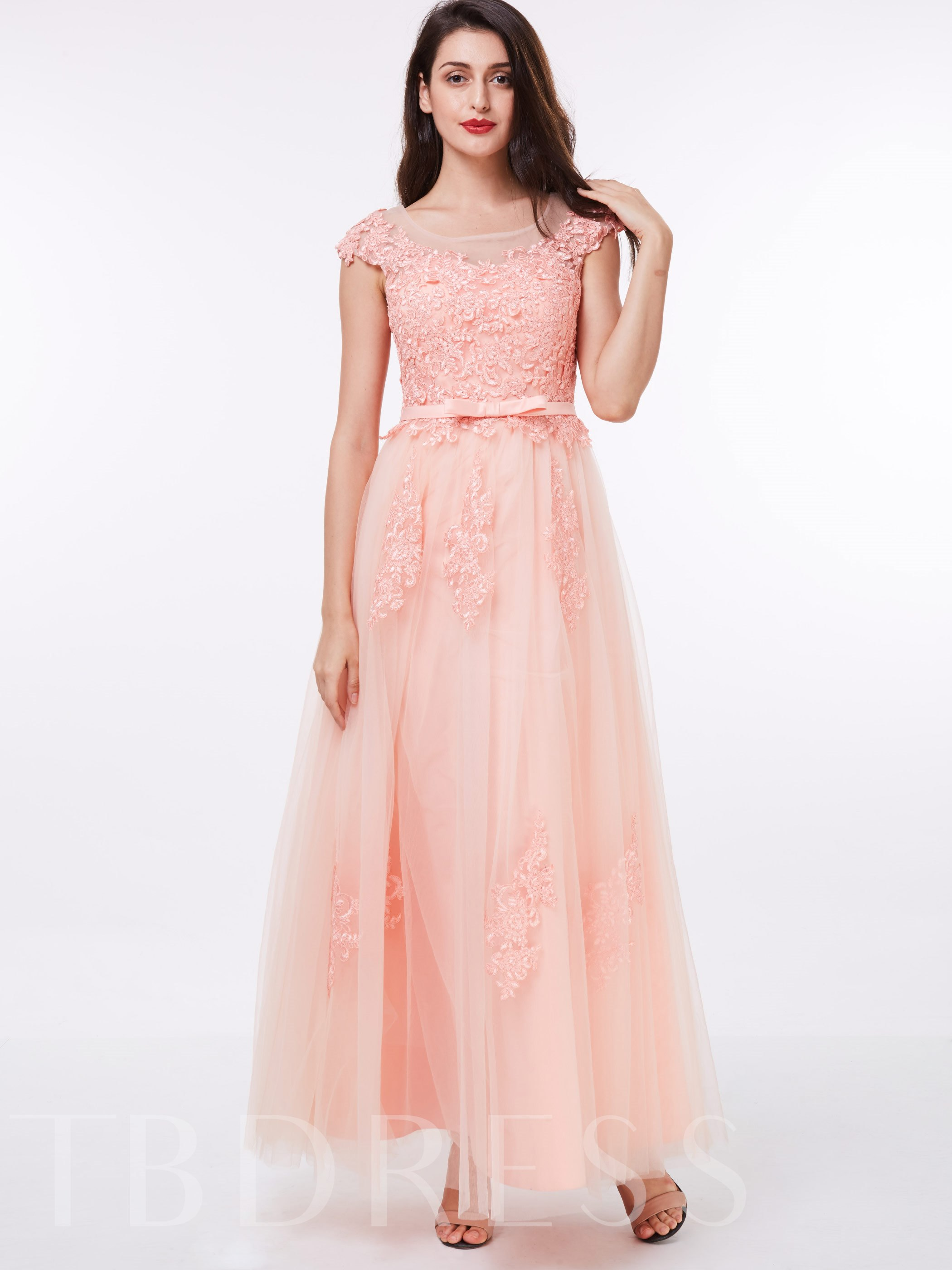 Image of A-Line Jewel Cap Sleeves Appliques Sashes Floor-Length Evening Dress