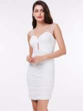 Sheath V-Neck Pleats Short Cocktail Dress