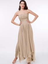 A-Line Strapless Ruched Ankle-Length Evening Dress