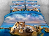 Yellow Tiger and Blue Ocean Printed Cotton 4-Piece 3D Bedding Sets/Duvet Covers