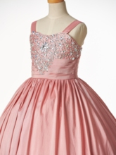 Straps Beaded Ball Gown Flower Girl Dress