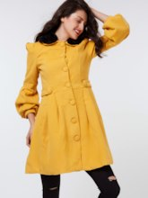 Solid Color Single-breasted Women's Overcoat