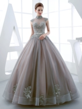 High Neck Sashes Ball Gown Appliques Beaded Floor-Length Quinceanera Dress