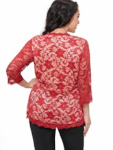 Lace Solid Color Blouse Femmes (Plus Size disponible)