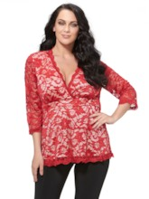 Plus Size Lace Solid Color Women's Blouse