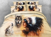 Wolf and American Indian Chief Printed 3D 4-Piece Bedding Sets/Duvet Covers