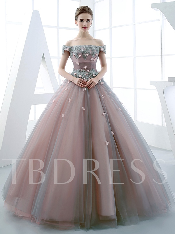 Image of Ball Gown Off-the-Shoulder Beading Flowers Floor-Length Quinceanera Dress