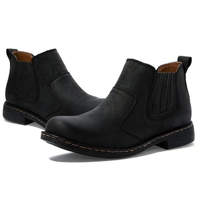 Round Toe Slip-On Ankle Men's Boots