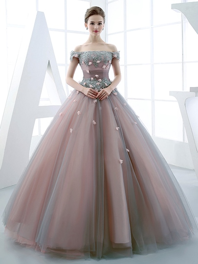 Ball Gown Off-the-Shoulder Beading Flowers Floor-Length Quinceanera Dress