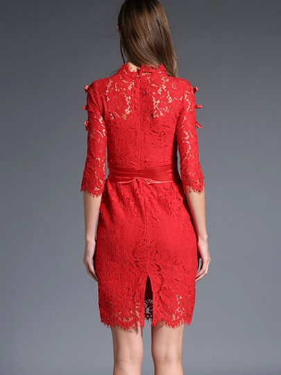 Half Sleeve Solid Color Women's Lace Dress