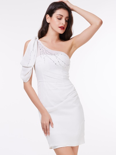 Column One-Shoulder Beading Mini Cocktail Dress