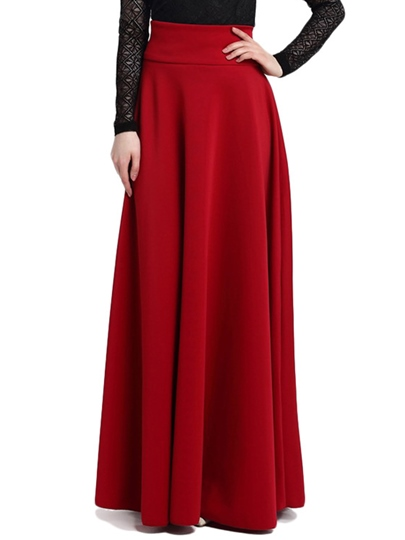 Elegant High Waisted Pure Color Full-skirted Women's Skirt
