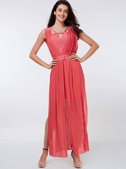 Plain Slit Suspenders Women's Maxi Dress