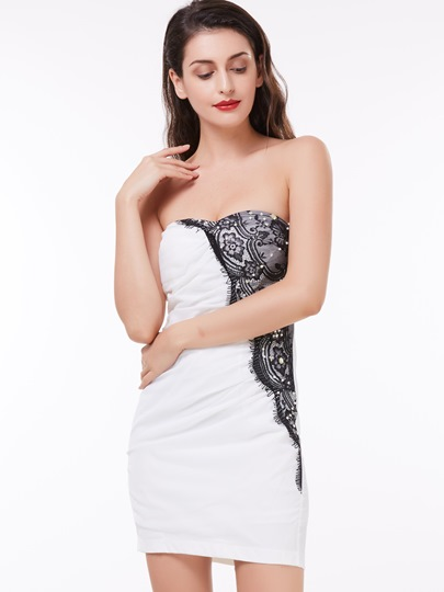 Sheath Strapless Lace Pleats Short Cocktail Dress