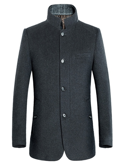 Men's Woolen Causal Coat with Single-Breast