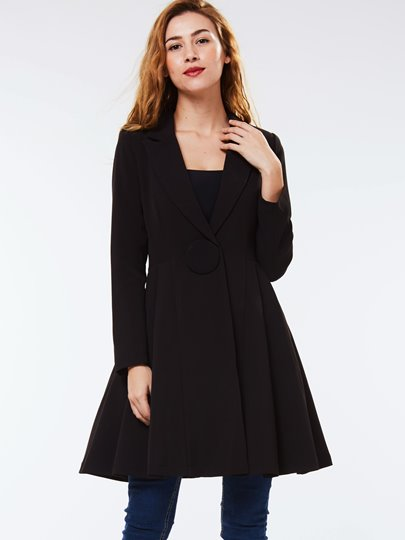 One Button Notched Lapel Loose Women's Overcoat
