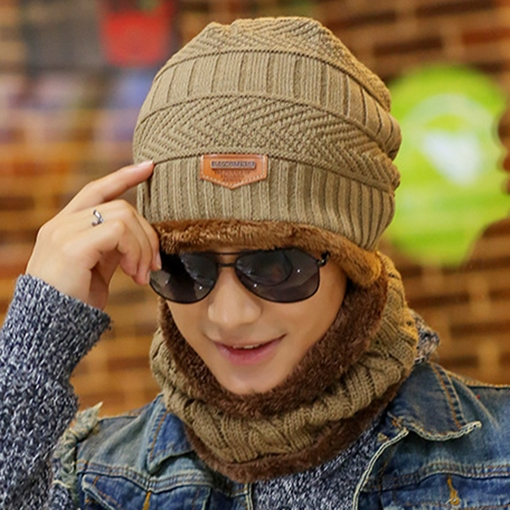 Warm Plush Knitted Cap & Collar